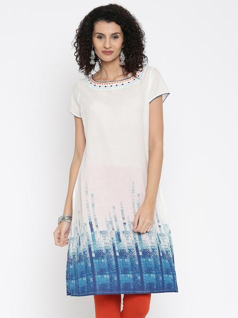 Melange by Lifestyle Women White Printed Straight Kurta