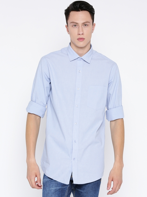 Monte Carlo Men Blue Solid Casual Shirt