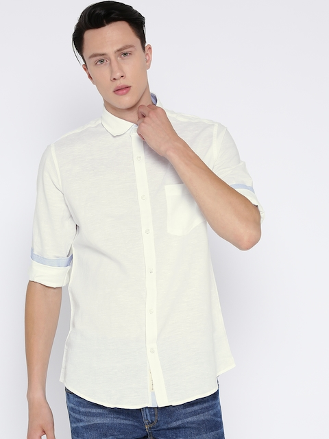 Monte Carlo Men Off-White Solid Casual Shirt