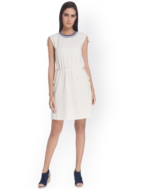 Vero Moda Women Beige Self-design Fit and Flare Dress