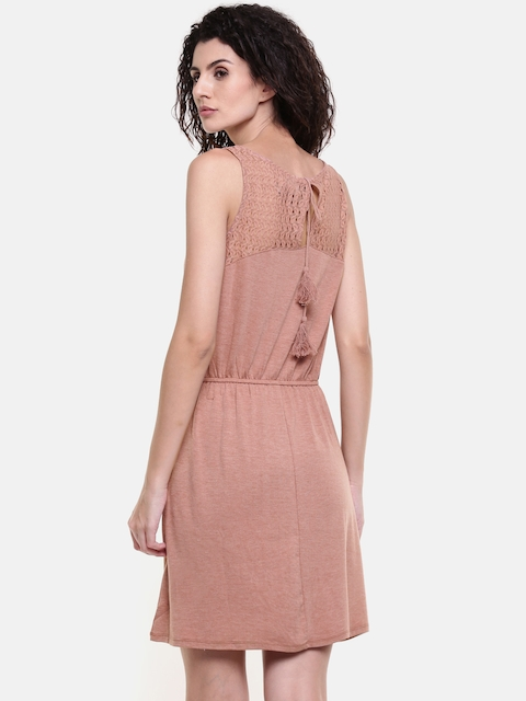 Vero Moda Women Peach-Coloured Solid Fit and Flare Dress