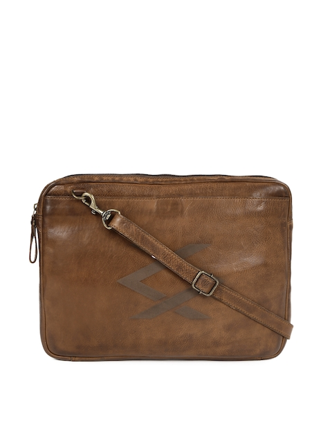 KOMPANERO Unisex Brown Leather Laptop Sleeve