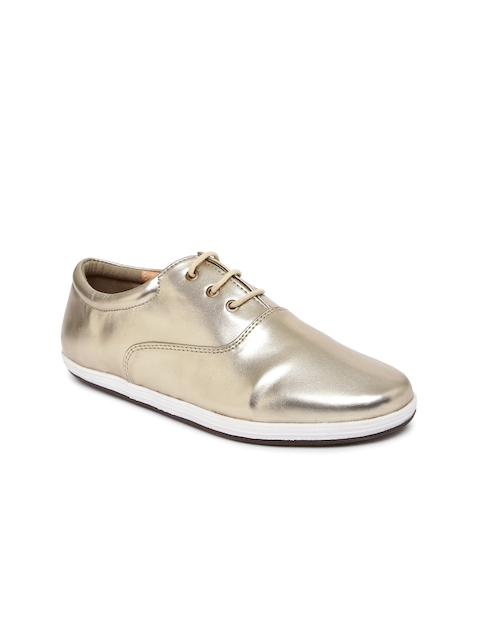 Lavie Women Muted Gold-Toned Oxford Casual Shoes