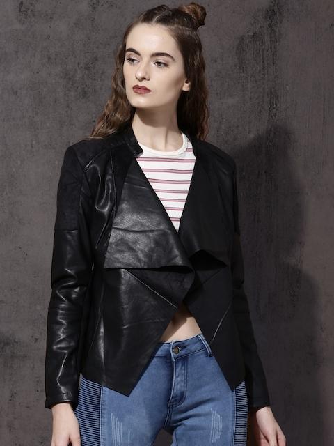 Roadster Women Black Solid Open Front Jacket