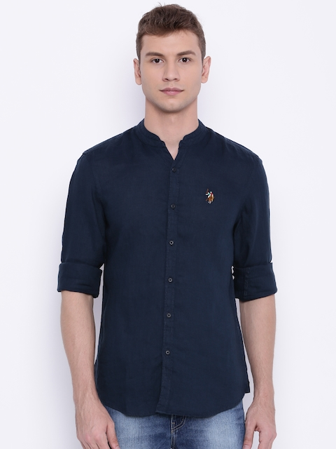 U.S. Polo Assn. Men Navy Regular Fit Linen Casual Shirt