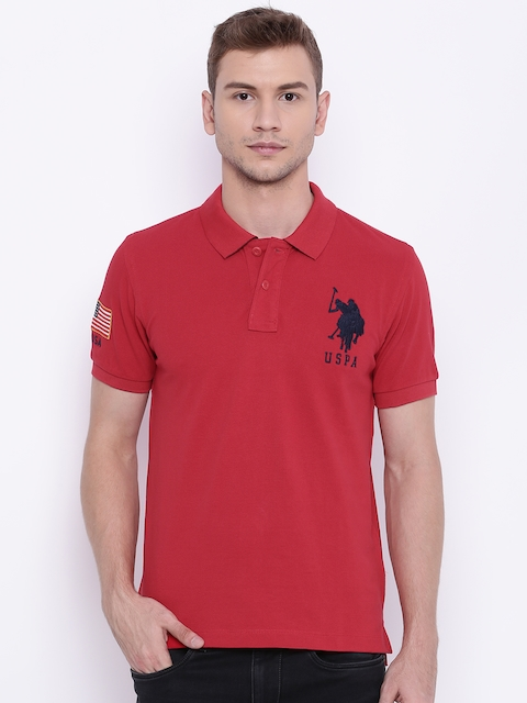 U.S. Polo Assn. Men Red Solid Polo T-shirt