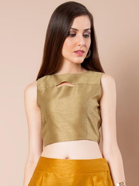 INDYA Gold-Toned Crop Top