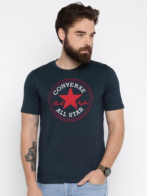 Converse Men Navy Blue Printed Round Neck T-Shirt