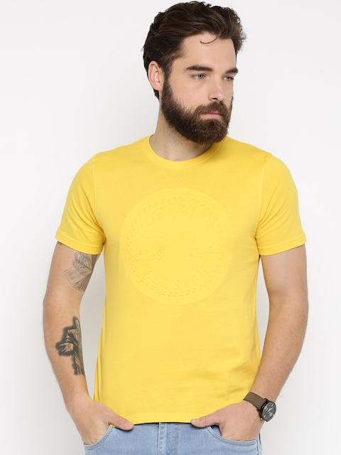 Converse Men Yellow Self-Design T-Shirt