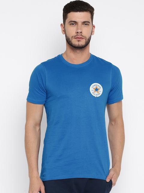 Converse Men Blue Printed Round Neck T-shirt