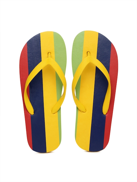 Vero Moda Women Yellow & Navy Striped Flip-Flops