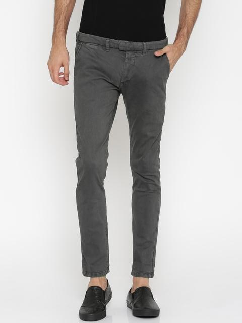 ALCOTT Men Charcoal Grey Slim Fit Chino Trousers