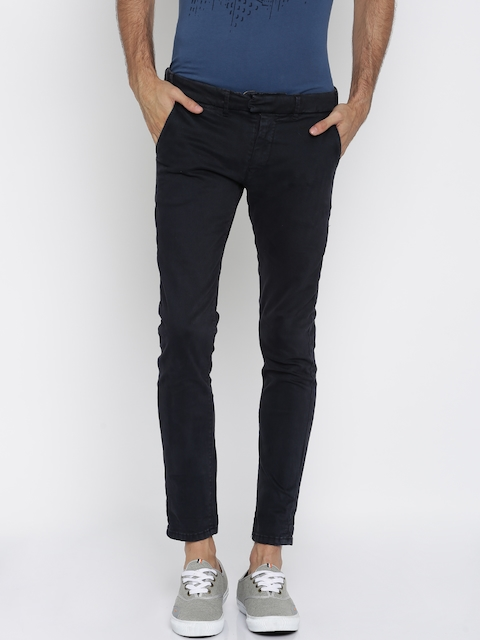 ALCOTT Men Navy Slim Fit Solid Chino Trousers