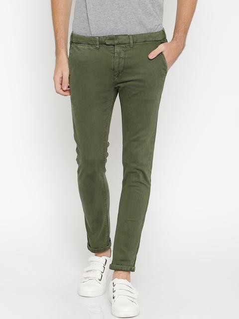 ALCOTT Men Olive Green Slim Fit Chino Trousers