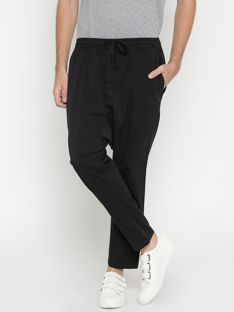 ALCOTT Men Black Carrot Fit Solid Drop Crotch Trousers