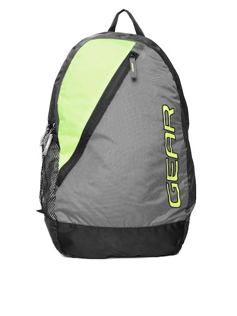 Gear Unisex Grey & Green Colourblocked Backpack