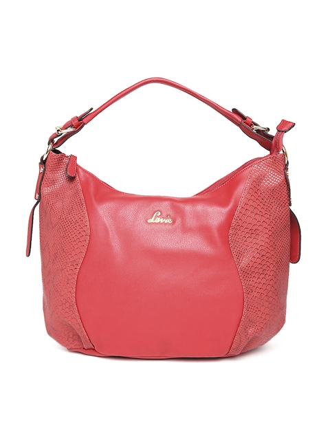 Lavie Red Textured Hobo Bag