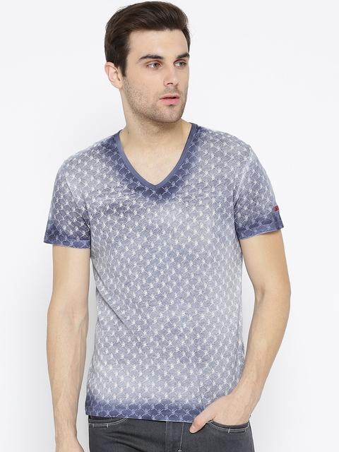 Being Human Men Grey & Blue Printed V-Neck T-shirt