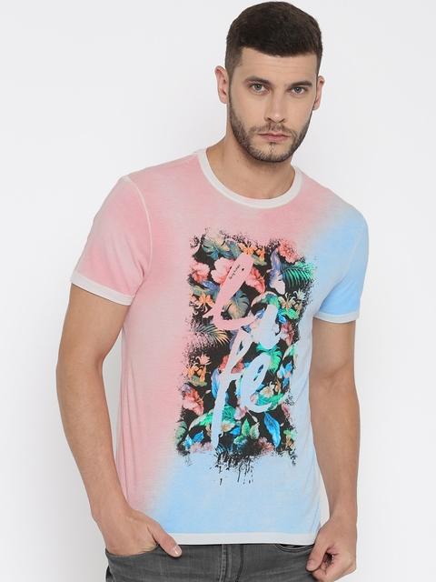 Being Human Men Pink & Blue Printed Round Neck T-shirt