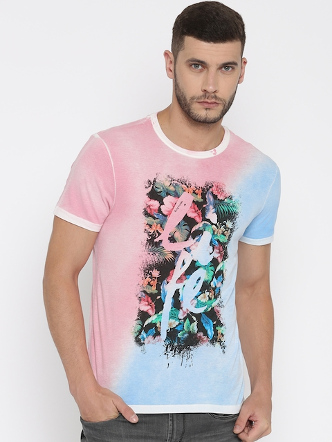 Being Human Men Pink & Blue Printed Round Neck T-shirt