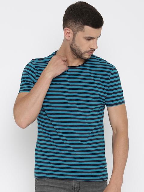 Being Human Men Blue Striped Round Neck T-shirt