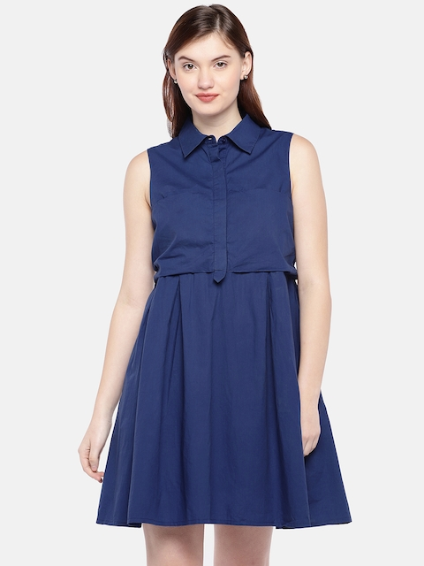 Vero Moda Women Blue Fit & Flare Dress