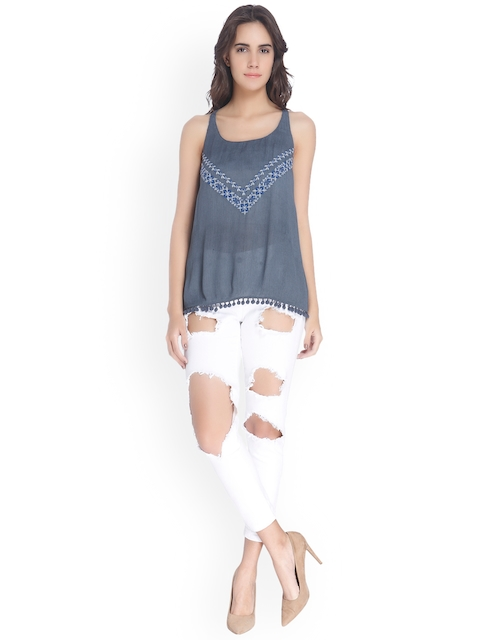 Vero Moda Women Blue Styled Back Top with Embroidery