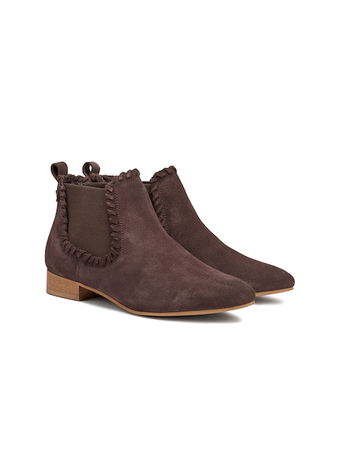 next Women Brown Solid Suede Leather Flat Boots