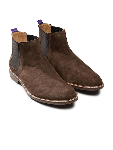 next Men Brown Solid Suede Leather Flat Boots