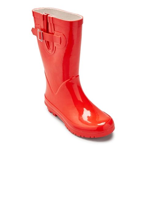 next Girls Red Solid High-Top Flat Boots