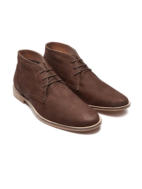 next Men Brown Solid Genuine Leather Chukka Boots