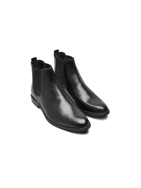 next Men Black Solid Mid-Top Leather Flat Boots