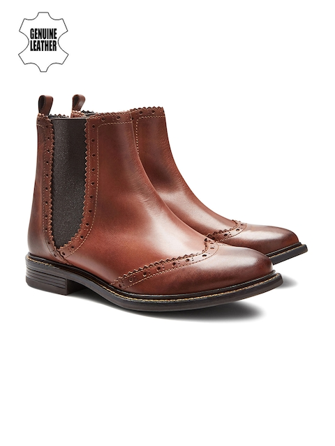 next Women Tan Brown Genuine Leather Chelsea Boots