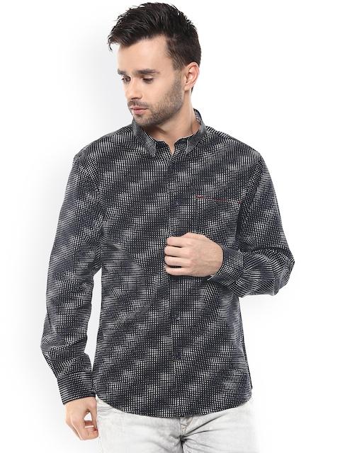 SPYKAR Black Printed Slim Fit Casual Shirt