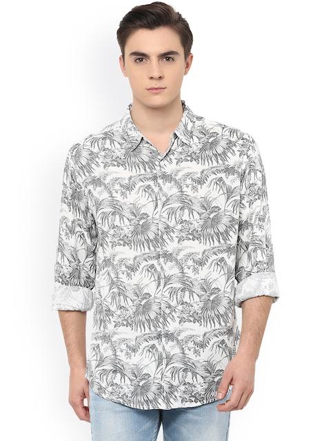SPYKAR White Printed Slim Fit Casual Shirt