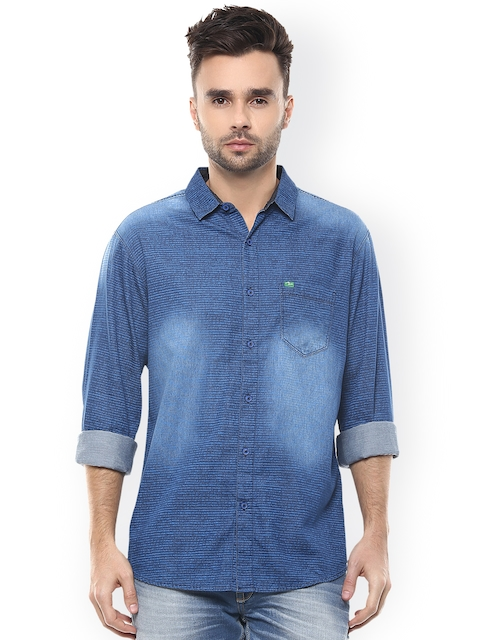 SPYKAR Blue Striped Slim Fit Casual Shirt