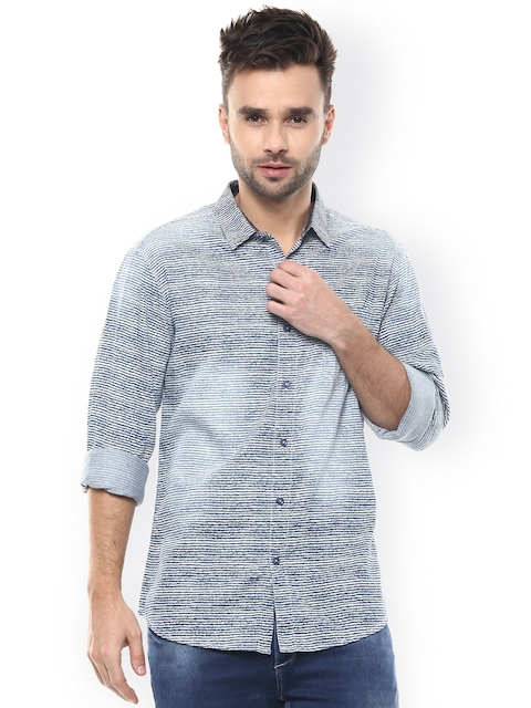 SPYKAR Navy Striped Slim Fit Casual Shirt