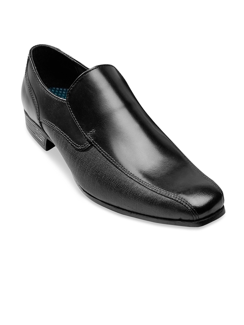 next Men Black Genuine Leather Slip-On Formal Shoes