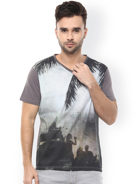 SPYKAR Grey Printed Slim Fit T-shirt