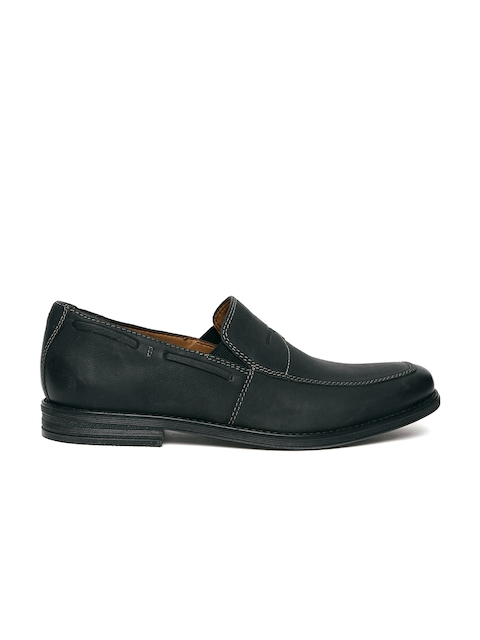 Clarks Men Black Leather Holmby Step Loafers