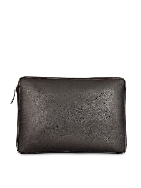 Quick Brown Fox Men Black Leather Laptop Sleeve