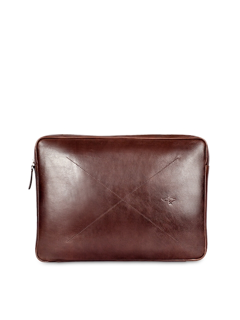 Quick Brown Fox Men Brown Leather Laptop Sleeve