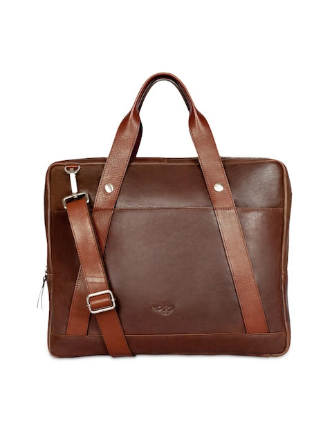 Quick Brown Fox Men Brown Leather Messenger Bag