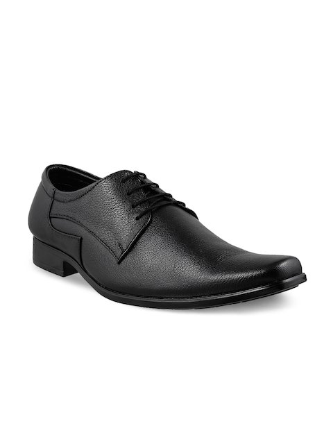 Metro Men Black Leather Formal Derby Shoes
