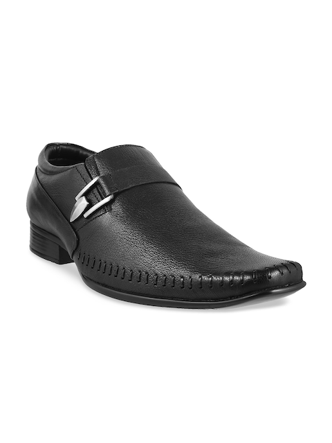 Metro Men Black Square-Toed Leather Semiformal Slip-Ons