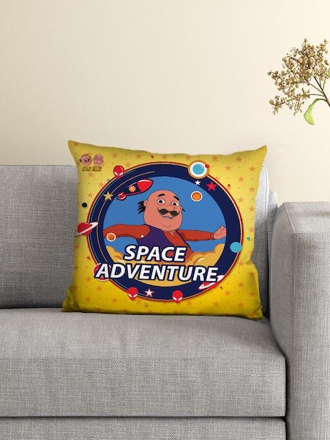 Athom Trendz Kids Yellow Single Motu Patlu Print 16 x 16 Square Cushion with Cover
