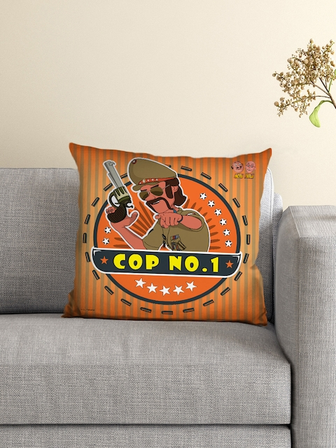 Athom Trendz Kids Orange Single Motu Patlu Print 16 x 16 Square Cushion with Cover