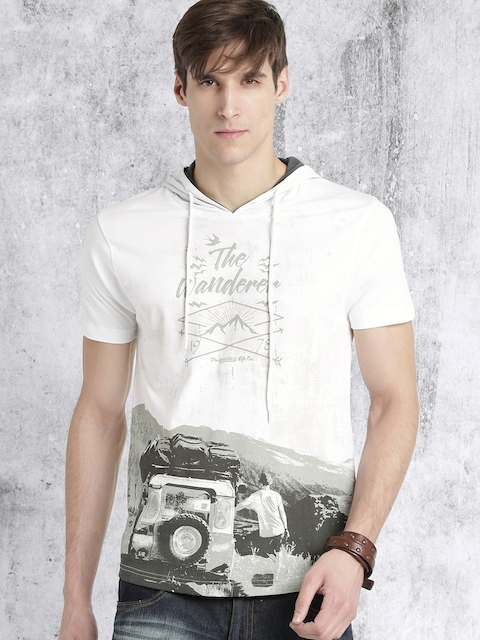 Roadster Men White Printed Hooded T-shirt