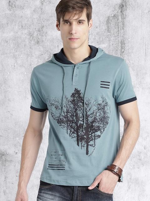 Roadster Men Blue Printed Hood T-shirt