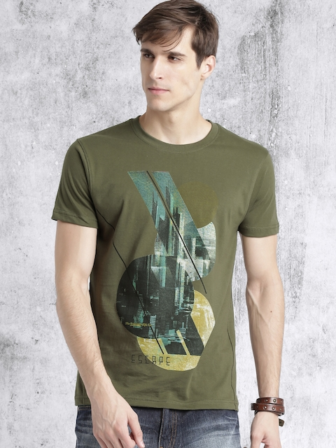 Roadster Men Olive Green Printed Round Neck T-shirt  available at myntra for Rs.179